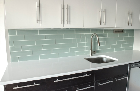 "4x12"" glass tiles for the backsplash"