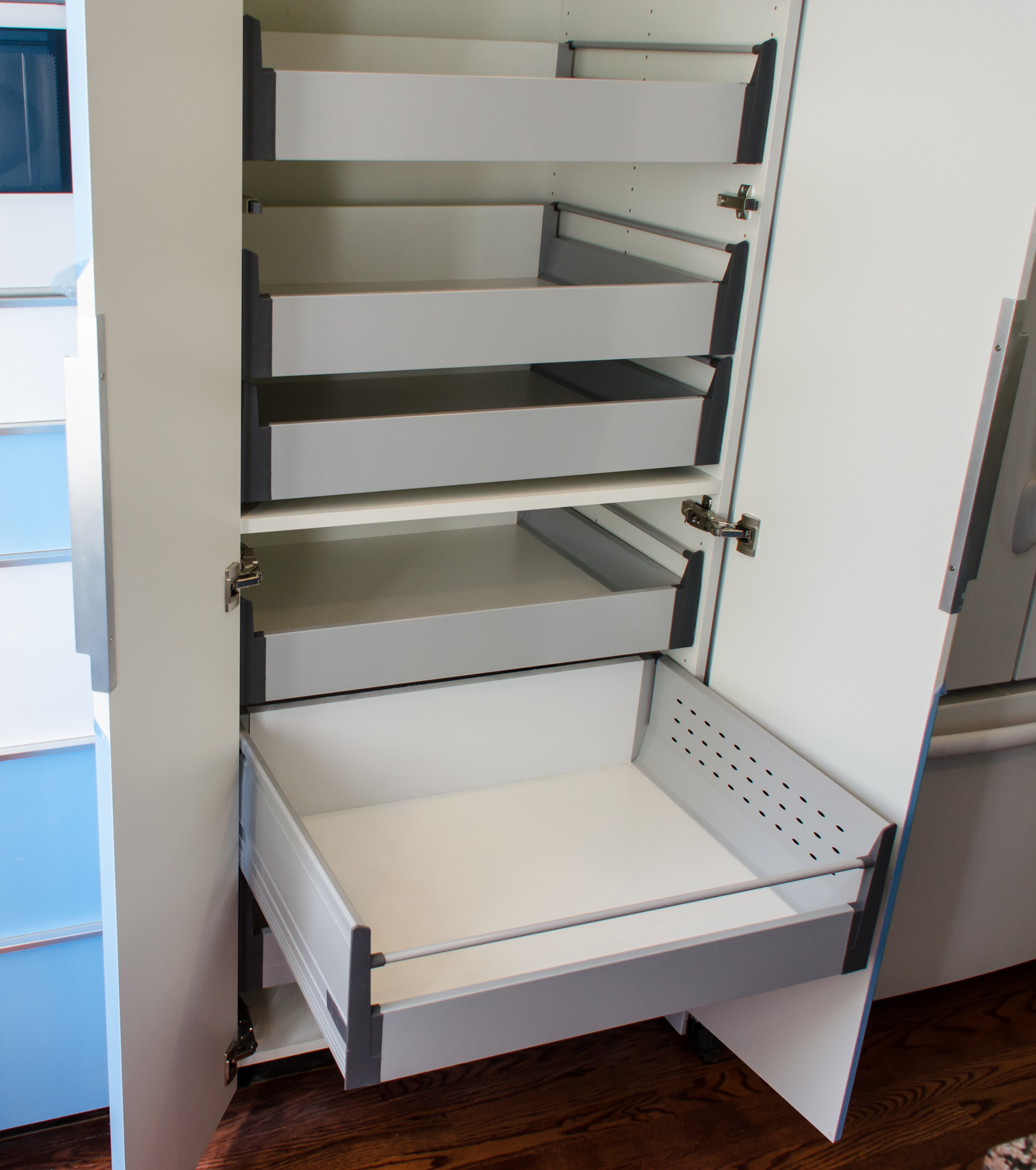 ikea s 30 pantry cabinet with blum tandembox pull out shelves