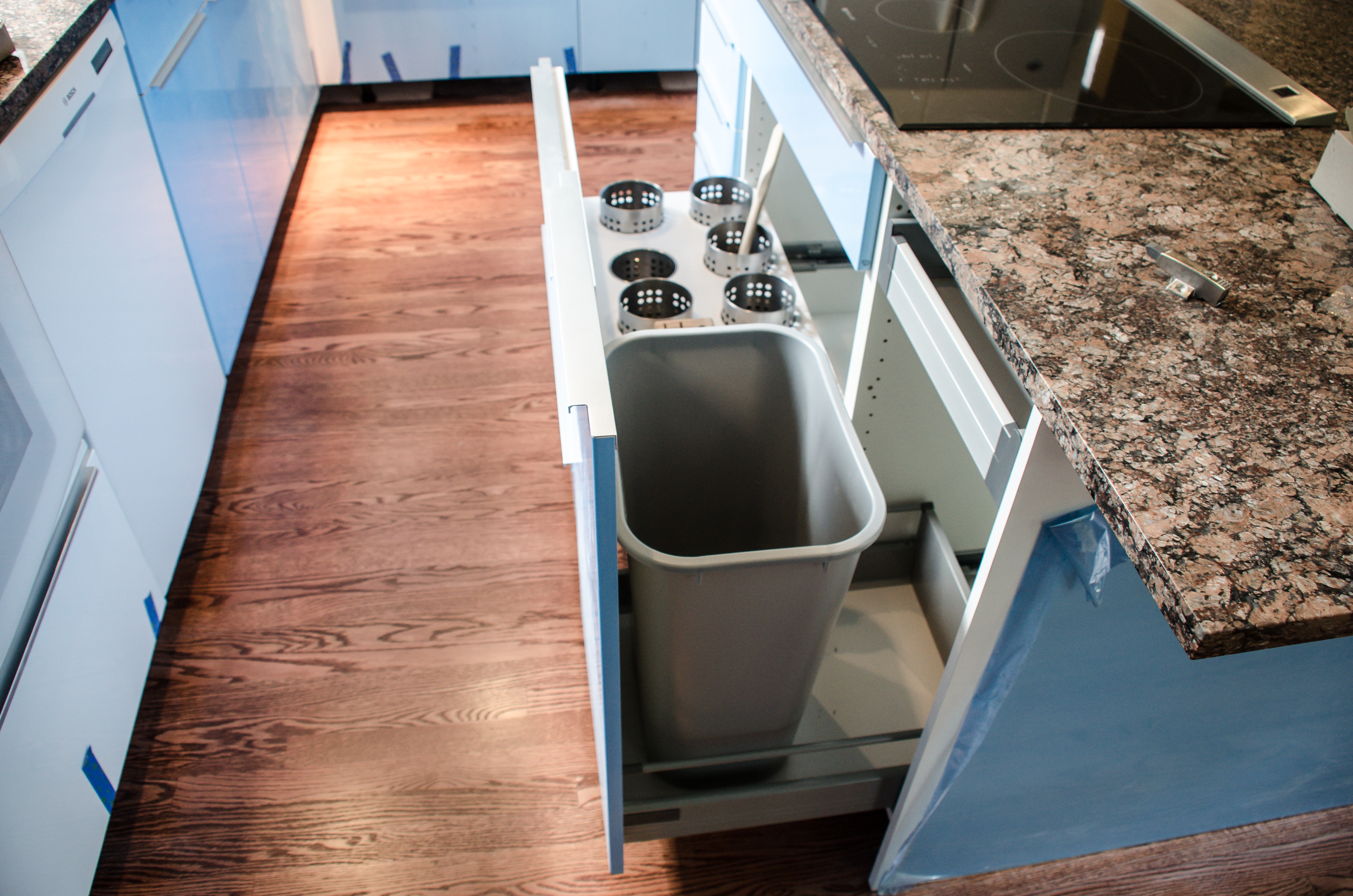 Pin by sabra chapman on new house kitchen pantry pinterest - Small pull out trash can ...
